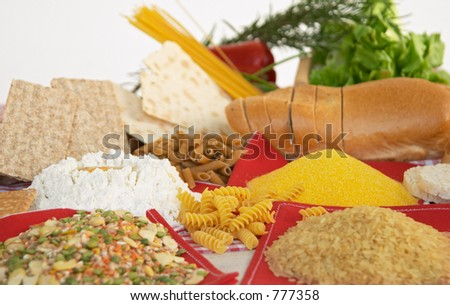 Legumes, cereals, pasta, rice, bread, egg, flour, biscuits, corn polenta, traditional Italian food from Piacenza, Italy