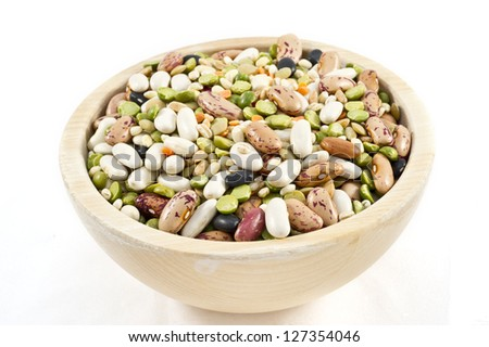legumes mix on the wood basket in white background