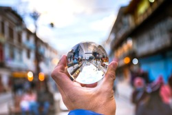 Leh market, viewed from lensball, the main bazar street with many shops and local souvenirs in Leh city, Ladakh, State of Jammu and Kashmir, North India