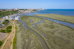 Leigh On Sea National Nature Reserve aerial view of Marshes in Essex
