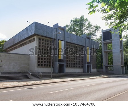 LEIPZIG, GERMANY - CIRCA JUNE 2014: The Propsteikirche St Trinitas meaning Church of St Trinity parish church designed in 1968 by the school of architecture of the GDR #1039464700
