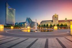 Leipzig, Germany. Cityscape image of Leipzig downtown during beautiful sunset.