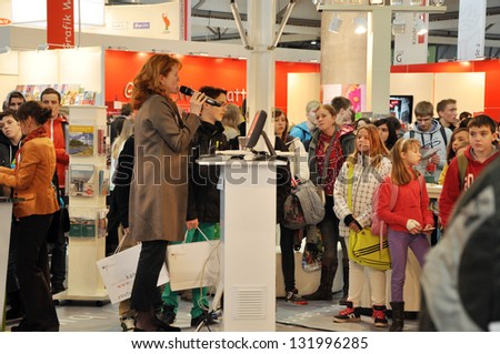 LEIPZIG, GERMANY - MARCH 14: Author presenting her book at Leipzig Book fair on March 14, 2013 in Leipzig, Germany. Leipzig Book Fair is the most important spring event for the publishing houses.