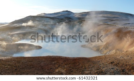Leirhnjukur, Krafla area, near Lake Myvatn in the north of Iceland. A sulphur containing hot spring surrounded by mudpots, steam vents and fumaroles.