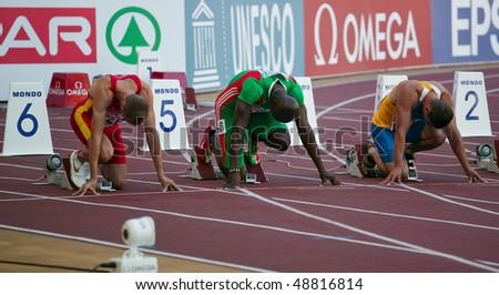 LEIRIA, PORTUGAL - MAY 20: SPAR European Team Championship runners break out of blocks in the 100 meters men , May 20, 2009 in Leiria,