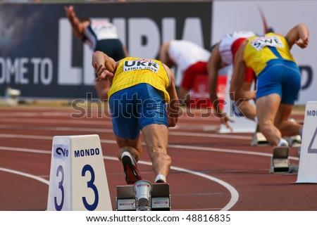 LEIRIA, PORTUGAL - MAY 20: SPAR European Team Championship runners break out of blocks in the 400 meters men , May 20, 2009 in Leiria, Portugal