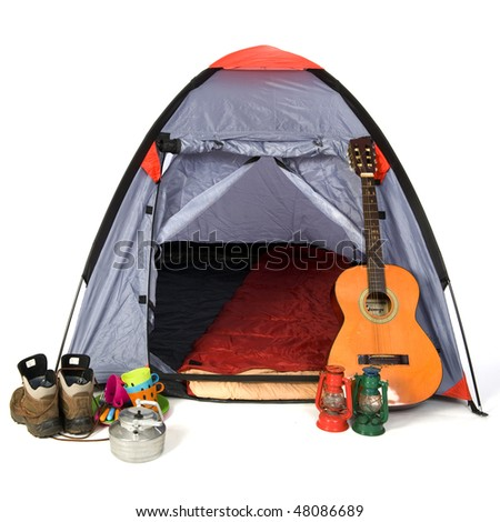 Leisure objects with tent at the campground