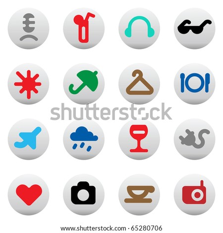Leisure, resort and hotel service icons. Raster version. For vector version of this image, see my portfolio.