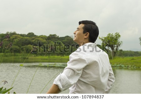 leisure time beside lake - stock photo