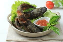 Lele Goreng or Fried Catfish is Traditional Indonesian Culinary Food. Catfish and Chilli Tomato Paste, Popular Street Food Called Pecel Lele Lamongan