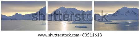 Lemaire Channel, Antarctica. Triptych image taken at sunset during beautiful, calm waters.