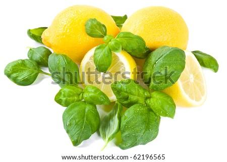 Lemon and basil on white background