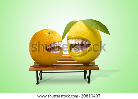 lemon and orange laughing together over a seat