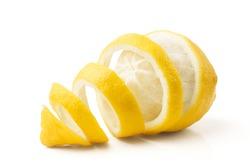 lemon and peel on white background