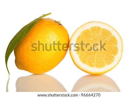 lemon and slice of lemon isolated on white