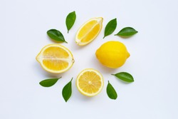 lemon and slices with leaves isolated on white background.