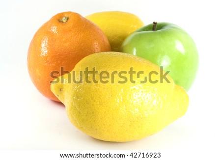 Lemon, apple, orange still life