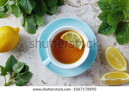 Lemon balm tea with honey. Cup of hot honey lemon balm tea. Lemon balm is a herb that belongs to the mint family and is known for its medicinal benefits.  #1067178890