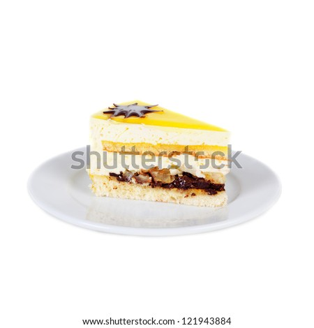 lemon biscuit cake on the plate