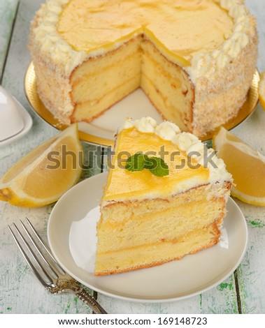 lemon cake on white background