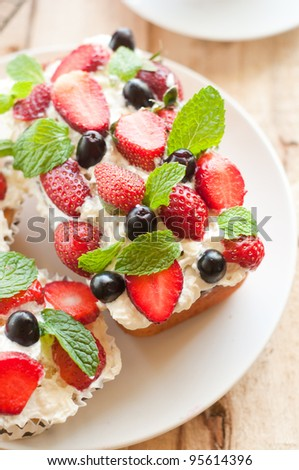 Lemon Cake topped with whipped cream, fresh fruits and mint 1