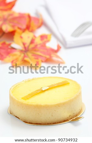 Lemon cheesecake isolated in white background