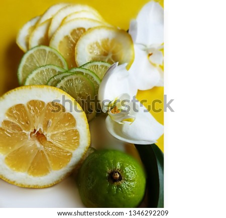 Lemon citrus And Lime citrus juicy slice  fruit and berry   on white background still life , healthy food and vitamiin with Orchids flowers   ,green and yellow  food  decoration design  #1346292209