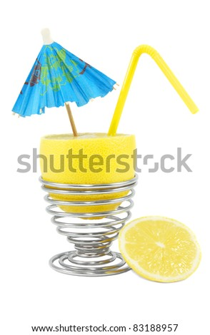 Lemon cocktail with umbrella and straw on the white background