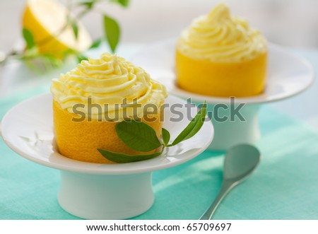 Lemon cream in hollowed-out lemon