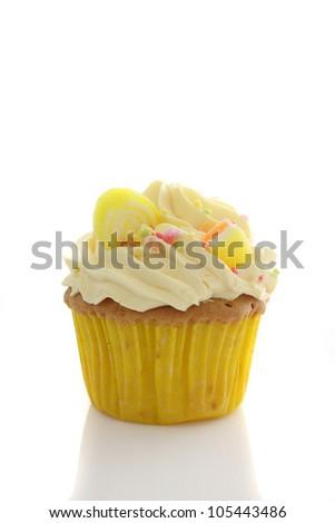 lemon cupcake isolated in white background