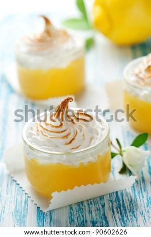 Lemon curd dessert with meringue topping