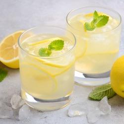 Lemon drop cocktail, selective focus, square format