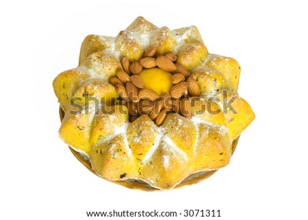 Lemon fruit cake with almonds on the plate isolated on white background