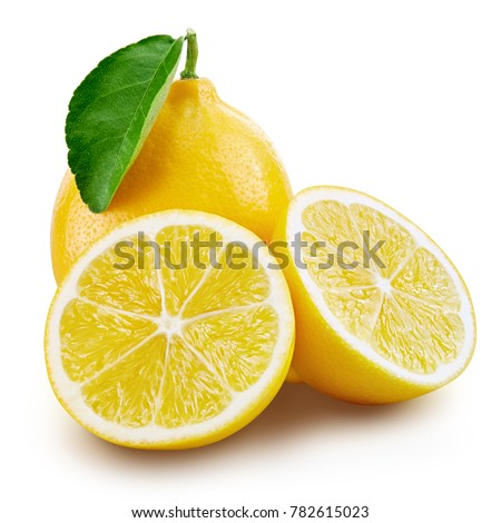 lemon fruit slice with leaf isolated on white background