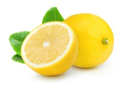 Lemon fruit with green leaf isolated on white background.