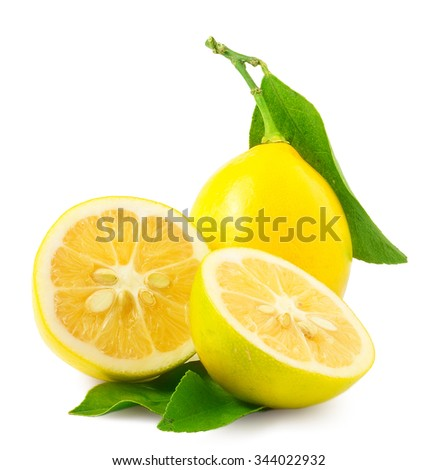 lemon. fruit with half and...