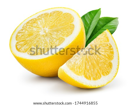 Lemon fruit with leaf isolate. Lemon half, slice, leaves on white. Lemon slices with zest isolated. With clipping path. Full depth of field.