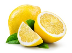 Lemon fruit with leaf isolate. Lemon whole, half, slice, leaves on white. Lemon slices with zest isolated. With clipping path. Full depth of field.