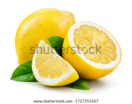 Lemon fruit with leaf isolate. Lemon whole, half, slice, leaves on white. Lemon slices with zest isolated. With clipping path. Full depth of field. ストックフォト ©