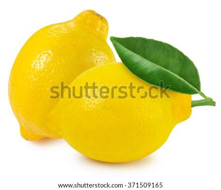 lemon fruit with leaf isolated...