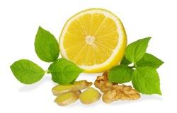 lemon ,ginger isolated on white background