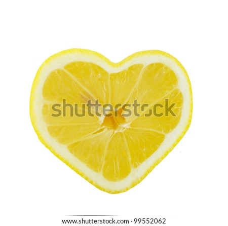 Lemon heart shaped slice cross section isolated on white background