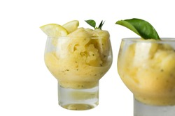 lemon ice cream top view, isolated on white