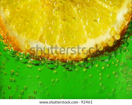 Lemon in sparkling water.  Perfect for the upcoming Summer season.