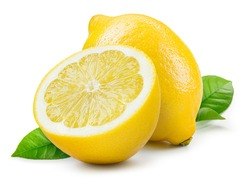 Lemon isolate on white. Lemon fruit whole and a half with leaves. Side view on white. With clipping path.
