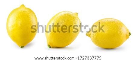 Lemon isolate on white. Lemons side view on white. Whole lemon. Set of lemon fruit.
