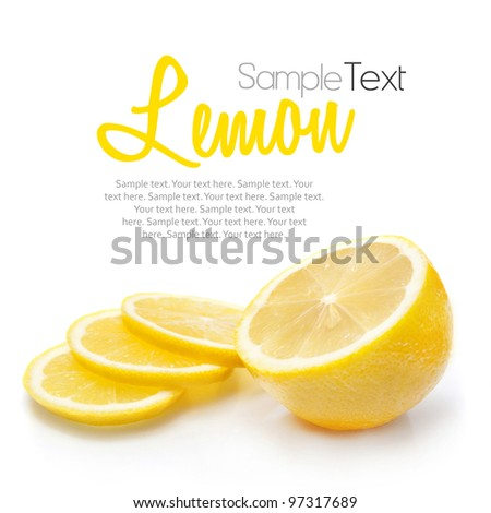 Lemon isolated on white with sample text