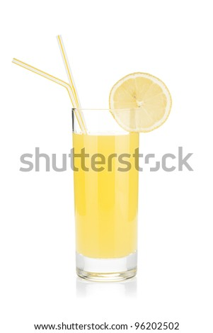 Lemon juice glass and two drinking straw. Isolated on white background