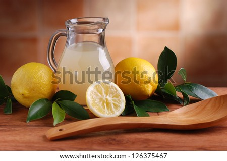 lemon juice in glass carafe