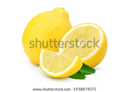 Lemon lime fruit with green leaves  isolated on white background.